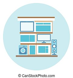 Smart Home Technology Icon On Blue Background Modern House Control System Concept