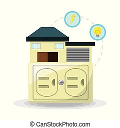 smart home use alternative energy, vector illustration