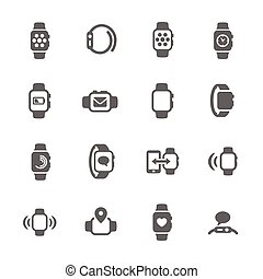 smart, horloge, iconen