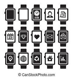 smart, horloge, pictogram, set.