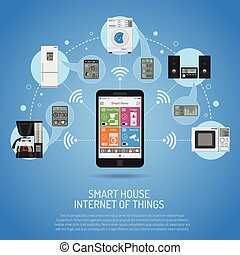 Smart House and internet of things concept. smartphone...