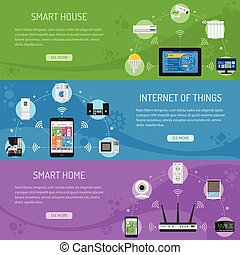 Smart House and internet of things Horizontal Banners