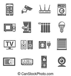 Smart House and internet of things Icons Set with smartphone, tablet, security camera, router light bulb and smart tv. Isolated vector illustration