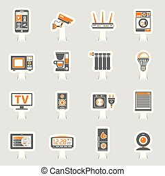 Smart House and internet of things sticker icons set - Smart...