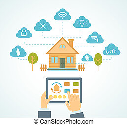 smart house automation - vector illustration concept of ...