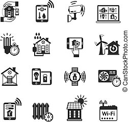 Smart house black icons set