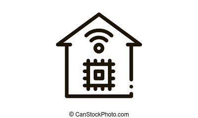 smart house chip wifi Icon Animation. black smart house chip wifi animated icon on white background