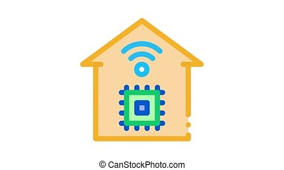 smart house chip wifi Icon Animation. color smart house chip wifi animated icon on white background