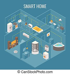 Smart house concept vector flat 3d isometric illustration