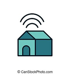 smart house connection wifi internet of things line and fill icon