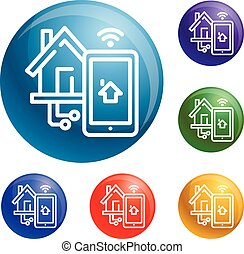 Smart house control icons set vector