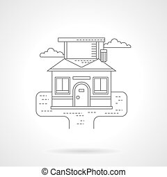 Smart house detailed flat line vector icon