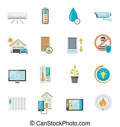 Smart House Flat Icons Set