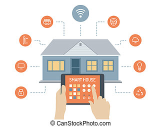 Smart house flat illustration concept - Flat design style ...