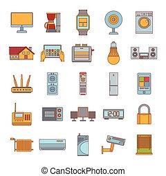 Smart house icon set, cartoon style