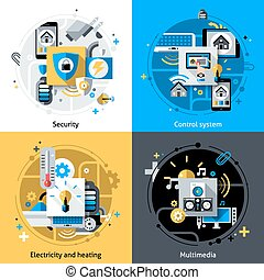 Smart House Icons - Smart house design concept set with ...