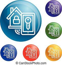 Smart house lock icons set vector
