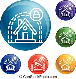 Smart house protect icons set vector