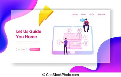 Smart House Website Landing Page. Technology System with ...