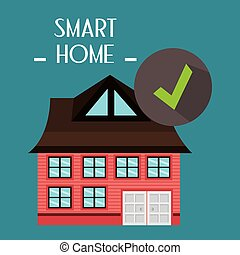 smart house with check symbol service vector illustration...