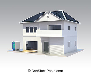 Smart house with solar panel system