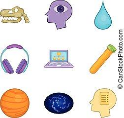 Smart icons set, cartoon style