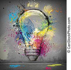 Smart idea - Paint light bulb symbol of smart idea