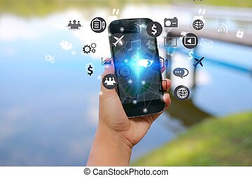 smart, ikonen, holdingen, social, begrepp, media, tel., hand