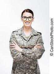 Smart intelligent woman guaranteeing security