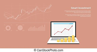 flat style concept banner for smart investment, finance, banking, market data analytics, strategic management, financial planning.