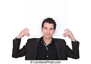 smart, jonge man, met, een, plank, links, leeg, voor, jouw, boodschap