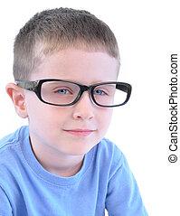 smart, jongetje, met, bril op, witte
