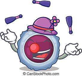 smart, jonglera, leka, tecken, cell, lymphocyte, tecknad ...
