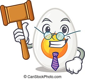 Smart Judge boiled egg in mascot cartoon character style