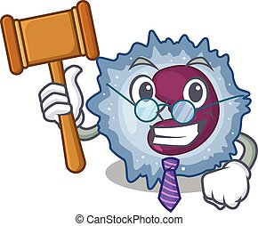 Smart Judge monocyte cell in mascot cartoon character style...