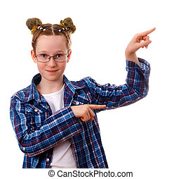 Smart kid girl with pointing on something with her finger. Isolated on white background.