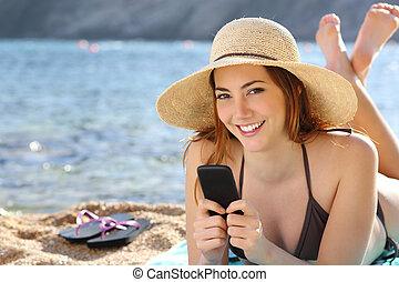 smart, kvinna, strand, ringa, lov, texting