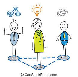 smart, lag, med, kvinnor, ledare