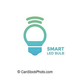 smart led light bulb vector icon on white
