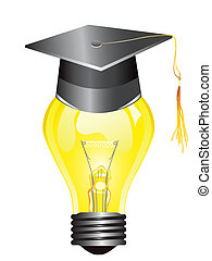 smart light bulb with mortar board