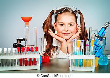smart little girl - Little girl is making science...