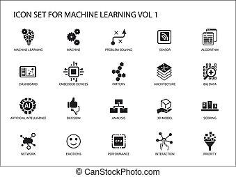 smart, machine, leren, vector, pictogram, set., symbolen,...