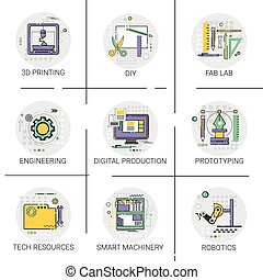 Smart Machinery Industrial Automation Production Icon Set,...