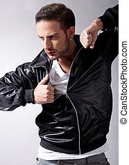 Smart male model giving movement
