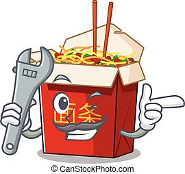 Smart Mechanic chinese box noodle cartoon character design