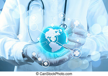 smart medical doctor hand showing network with bokeh exposure as