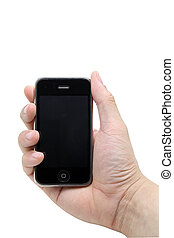 smart mobile phone in the hand isolated on white