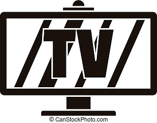 Smart modern tv icon, simple style