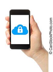 smart, moln, säkerhet, ringa, fästen, hand, begrepp