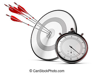 SMART Objective or Goals Concept - Four arrows hitting the...